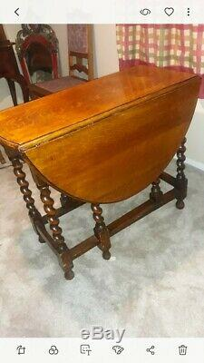 Old English Antique Tiger Oak Twisted Barley Drop Leaf Dining Table