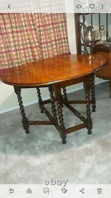 Old English Antique Tiger Oak Twisted Barley Drop Leaf Dining Table