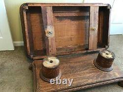 Old Solid Oak Pedestal Coffee Table, 1920s, Tiger Claw Feet, Good Condition