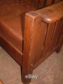 Original Set Tiger Oak Mission Bench & Chair, Handcrafted Wood Pegs, Nice Nice