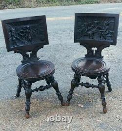 Pair of Antique German Carved Tiger Oak Drunken Monks Tavern Pub Chairs