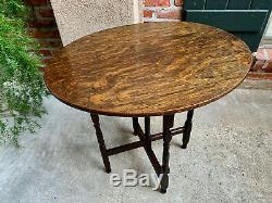 Petite Antique English Tiger Oak Oval Folding TABLE Coffee Tea Wine Server Cards