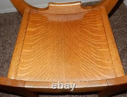 Pretty Antique Tiger Oak Throne Chair With Curved Seat Local AZ PICKUP ONLY