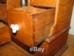 Primitive Tiger Oak 10 Drawer Wooden Spice Cabinet / Apothecary Cabinet 14.5 T