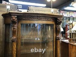Quarter Sawn Tiger Oak China Curio Cabinet Original Curved Glass In Door & Sides