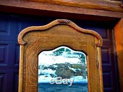Quarter Sawn/Tiger Oak Early American Armoire, Beveled Mirror Door 1895-1910