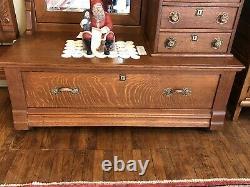 Quarter Sawn Tiger Oak Gentlemans Heavily Carved Dresser Matching Highback Bed