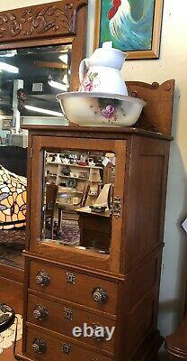 Quarter Sawn Tiger Oak Gentlemans Heavily Carved Dresser With Chevelle Mirror