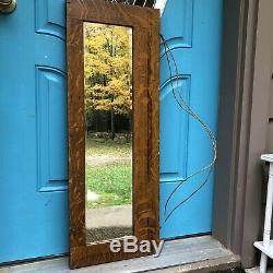 Quartersawn Tiger Oak Wall Mirror Antique Hutch Door Repurposed 36.5x13.75