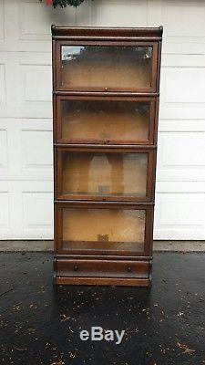 RARE 3/4 SIZE Globe Wernicke Tiger Oak Bookcase /Drawer Base (A 46)
