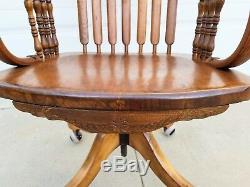 RARE! Antique c1900 American Tiger Oak large adjustable Banker's chair armchair