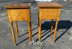RARE vintage pair of diminutive tiger maple night stands two drawers lamp tables