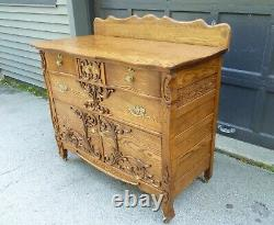 RESTORED Antique Quarter Sawn Tiger Oak Sideboard Hutch Buffet Server c1900