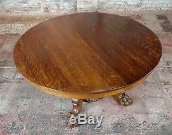 R. J. Horner Antique Tiger Oak Pedestal Table with4 Dragons feet c1890s