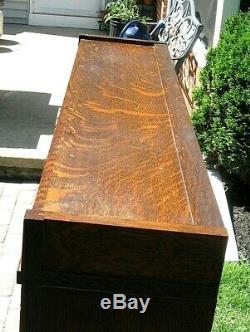 Rare! Antq Globe Wernicke Double Wide Quarter Sawn Tiger Oak Barrister Bookcase