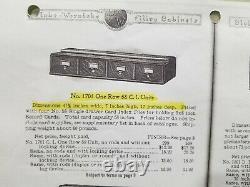 Rare HTF Globe Wernicke Step Back 4 Drawer 5 x 8 Index Card File (15-21)