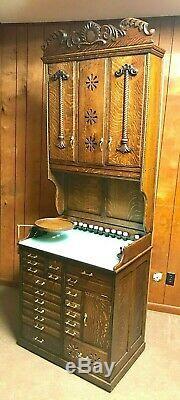 Rare Ornate Tiger Oak Dental Cabinet With Unique Storage