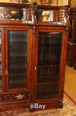 Rare R. J. Horner ATTR Quarter Sawn Tiger Oak Griffin Stick & Ball Bookcase 1870s
