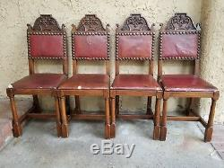 Enjoyable Set4X Antique French Carved Tiger Oak Gothic Revival Dining Short Links Chair Design For Home Short Linksinfo
