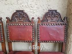 SET4x Antique French Carved Tiger Oak GOTHIC Revival Dining Chairs Leather Seat