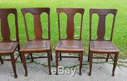 SET OF FIVE Antique Quarter Sawn Tiger Oak T Back Style Chairs w original finish