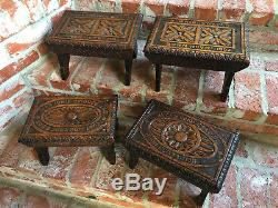 Set 4 Antique English Carved Tiger Oak Footstool Stool Stand dated 1905 Child