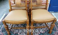 Set Of 4 English Antique Tiger Oak Art Deco New Upholstered Chairs