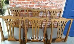 Set of 6 American Antique Tiger Oak Ball & Claw Upholstered Dining Chairs