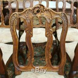 Set of 6 French Antique Tiger Oak Upholstered Louis XV Dining Chairs