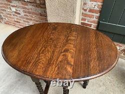 Small Antique English Tiger Oak BARLEY TWIST Drop Leaf Side Sofa TABLE Oval