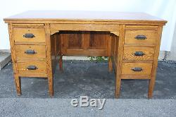 Solid Antique Arts & Crafts Mission Tiger Oak Hamilton Co. Writing Desk