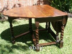Solid British Barley Twist Tiger Oak Antique Drop Leaf Table Gate Leg English