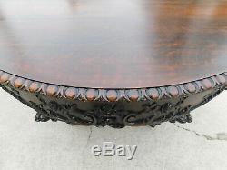 Solid Tiger Oak Dining Table Horner / Herter Bros. Extends to 119 with4 Leaves