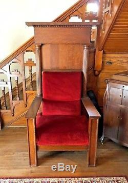 Spectacular Rare Antique Mason's Throne Chair Tiger Oak C1900 Fit For A King