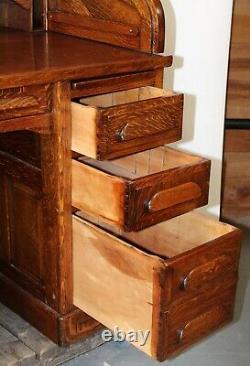 Standard Furniture Golden Oak S Curve Roll Top Desk Floats Carved Back Tiger EXC