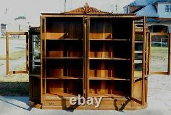 Stunning Tiger Oak Bookcase Display CabinetAdjustable Shelves
