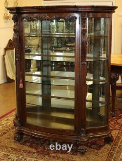 Tiger Oak 19th Century Griffin China Liquor Cabinet Attributed To RJ Horner