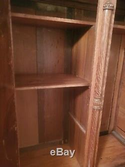 Tiger Oak Armoire 2 door with Fancy beveled Glass beautifully carved