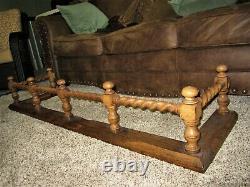 Tiger Oak Barley Twist Fireplace Fender Victorian Surround Rail Hearth Guard BIG