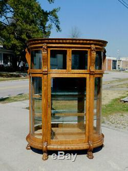 Tiger Oak Bow Front China Cabinet circa 1900Glass ShelvesMirrored Back