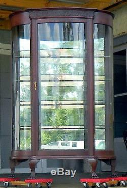 Tiger Oak Bow Front China Display CabinetOriginal Mirrored BackGlass shelves