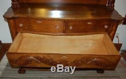 Tiger Oak Break Front Side Board Antique