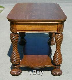 Tiger Oak Center Library Table Victorian circa 1900