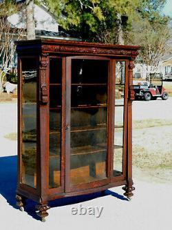 Tiger Oak China Cabinet circa 1900Original Finish