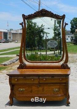 Tiger Oak Dresser Decorated with Cherub Heads circa 1900