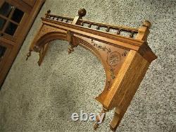 Tiger Oak Eastlake Carved Furniture Pediment Victorian Wall Shelf Window Valance