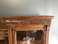 Tiger Oak Eastlake Victorian 3 Piece 3 Door/Draw Bookcase 62 1/2 X 66 X 17