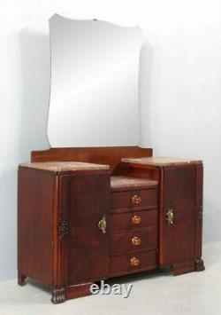 Tiger Oak French Vanity Dresser Cabinet Art Deco Mirror Marble