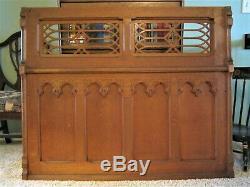 Tiger Oak Furniture Cabinet Pediment Carved Victorian Architectural Eastlake OLD
