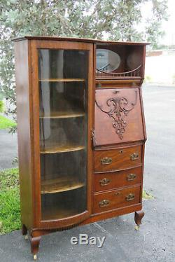 Tiger Oak Side by Side Bookcase Display Cabinet with Secretary Desk 1453